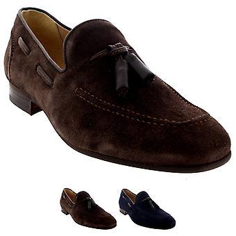 Mens H By Hudson Pierre Suede Smart Slip On Work Loafers Tassel Shoes