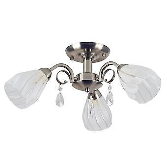 Chandelier de couleur satin gera, blanc métal, verre, L50xP50xA23 cm