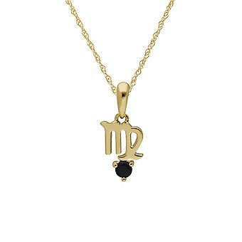 Sapphire Virgo Zodiac Charm Necklace in 9ct Yellow Gold 135P2000019