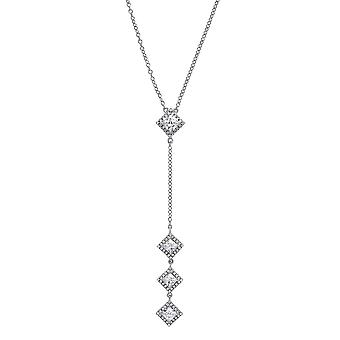 Jewelco Londen dames rhodium plated zilver wit Princess Cut CZ trilogie prinses drop Charm Necklace 17 inch