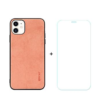 For iPhone 11 Case Fabric Texture Orange Cover & Tempered Glass Screen Protector