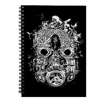 Borderlands 3 maske av mayhem hvit print spiral notatbok