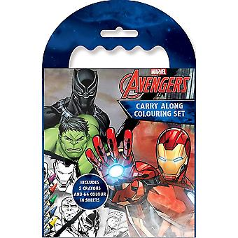 Marvel Avengers Boys Classic Comic Book Style Carry Along Colouring Set