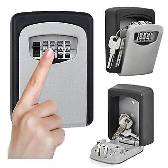 4 Digit Wall Mounted Key Safe Outdoor Combination Lock - Black / Grey