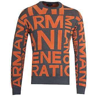 Emporio Armani Jacquard Orange Knit Sweatshirt
