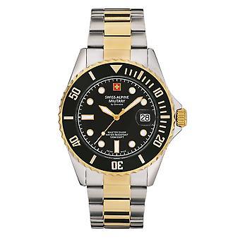Reloj suizo de los hombres militares alpinos cuarzo analógico 7053.1147SAM acero inoxidable