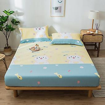 Soft Comfortable Cotton Fitted Bed Sheet, Cartoon Printed Non Slip Bed Mattress