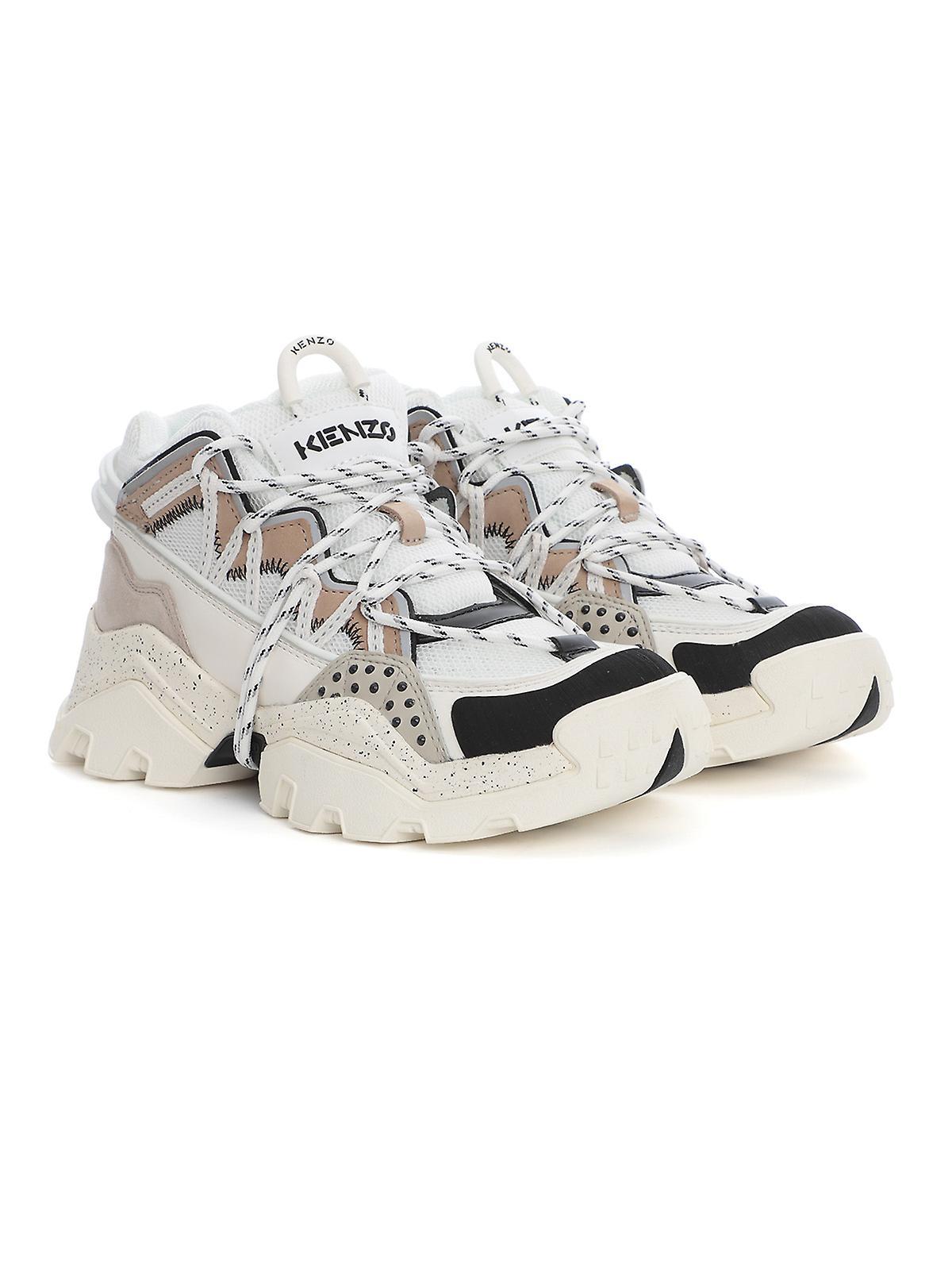 Kenzo Fa62sn300l6993 Women's Beige Leather Hi Top Sneakers