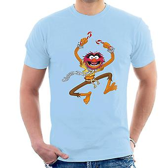 Disney Christmas Muppets Animal Holding Candy Canes Men's T-Shirt