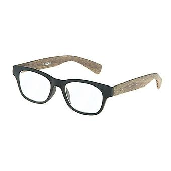 Lesebrille Unisex  Holz schwarz/braun Festigkeit +1,00 (le-0166A)