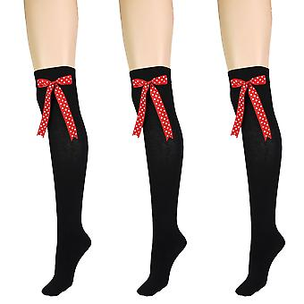 Women's Black With Bow Over The Knee High Costume Socks 4-6 UK