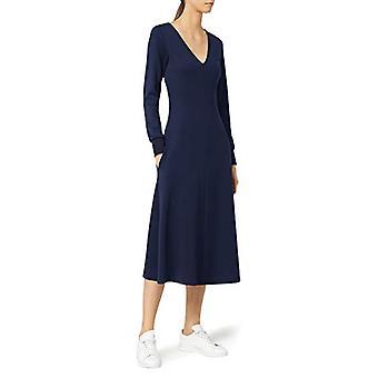 Meraki Women's A-line V-neck Midi Dress with Pockets, Navy, EU XS (US 0-2)