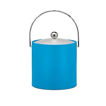 Process Blue 3 Qt. Ice Bucket, Chrome Bale Handle, Chrome Round Knob, Frosted Vinyl Lid