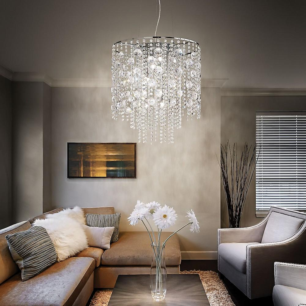Ideal Lux Evasione - 10 Light Ceiling Pendant Chrome with Crystals, G9