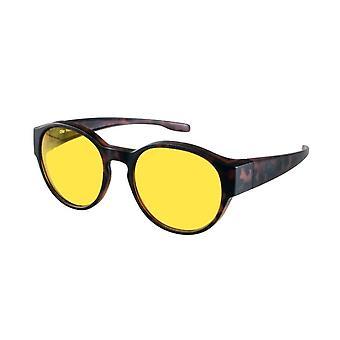 overzetnachtbril bruin unisex met gele lens Vz0039lb