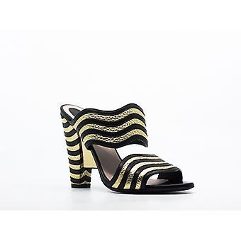 Fendi | Hypnoteyes Gold and Black Block Heels