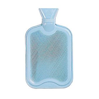 Hot Water Bottle - Classic Short Ribbed Rubber Bottle with Screw Stopper - 2 Litres - Light Blue