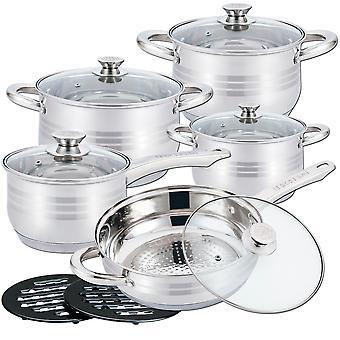 HG-1242: 12 køkkenredskaber i rustfrit stål
