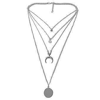 Multi-layer Moon Disc Pendant Female Necklace