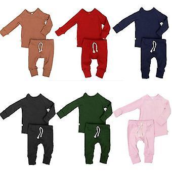 0-24m Neugeborenes Kleinkind einfarbig Pyjamas Set Baumwolle Sleepwear Nachtwäsche Casual