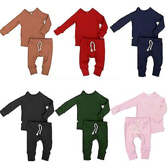 0-24m Newborn Toddler Solid Color Pajamas Set, Cotton Sleepwear Nightwear
