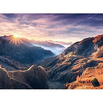 Fondo de pantalla mural niebla vista de la montaña