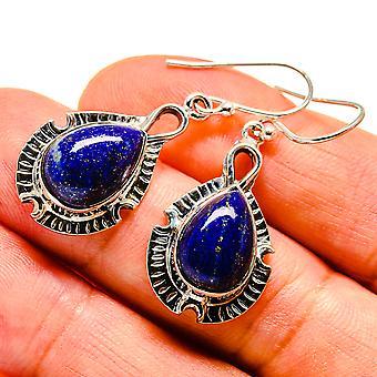 """Lapis Lazuli Earrings 1 1/2"""" (925 Sterling Silver)  - Handmade Boho Vintage Jewelry EARR407478"""