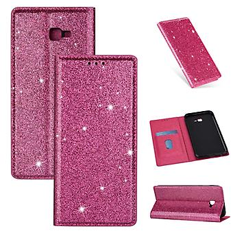 For Samsung Galaxy J4+ Ultrathin Glitter Magnetic Horizontal Flip Leather Case with Holder & Card Slots(Rose Red)