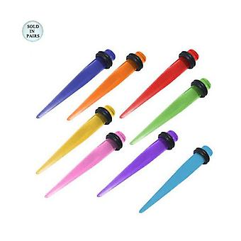 Acrylic spike design ear plug taper stretcher 2 gauge with o-rings - 8 colors