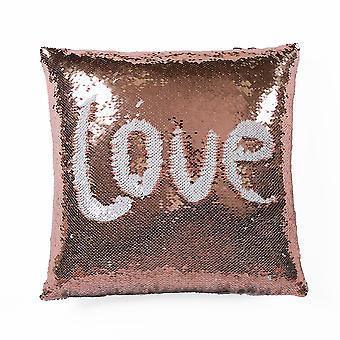 Mermaid Sequins Decorative Pillow Blush/White Single 16X16