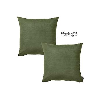 "Honey Fern Green Square 18"" Throw Pillow Cover (set Of 2)"