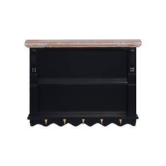 Charles Bentley Loxley Wall Storage Shelf Black with Gold Hooks Sleek Modern Natural Wood