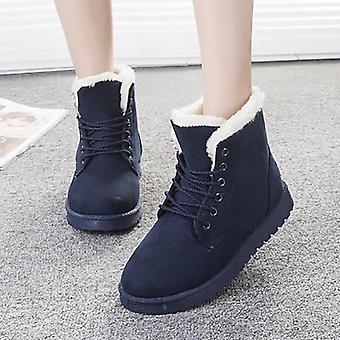 נשים מגפיים דמוי סוויד שלג קרסול חם פרווה מגפונים נעליים אחיד חורף נעלי עור