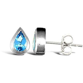 Jewelco London sterling sølv gnide over Blå Topaz studs tåre form dråbe øreringe