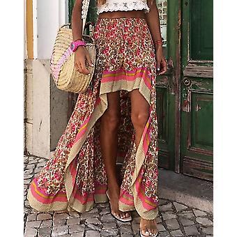 Fashion Unique Design Front Short Rear Length Print Maxi Skirts