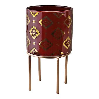 Small Kasbah Design Ceramic Planter, Red