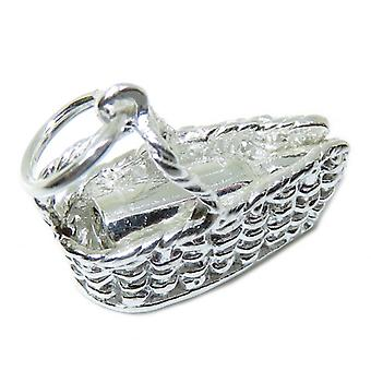 Bottle Of Wine In Basket Sterling Silver Charm .925 X 1 Wines Bottles Charms - 8670