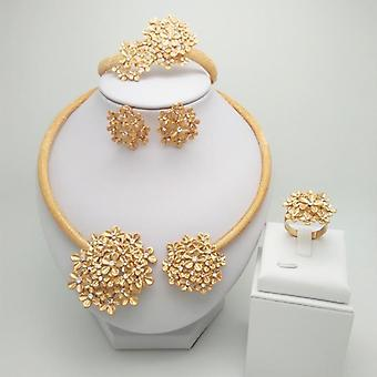 Wedding Bridal Gold Color Jewelry Set, Necklace, Bracelet, Earrings, Ring Sets