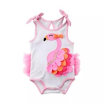 Cute Baby Girl Sleeveless Flamingo Bodysuit
