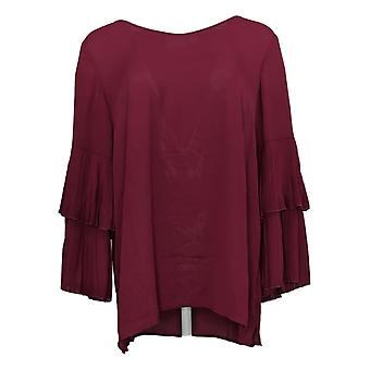 Joan Rivers Classics Collection Dames Top Geplooide Mouwen Rood A309574