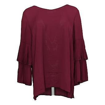 Coleção Joan Rivers Classics Women's Top Pleated Sleeves Red A309574