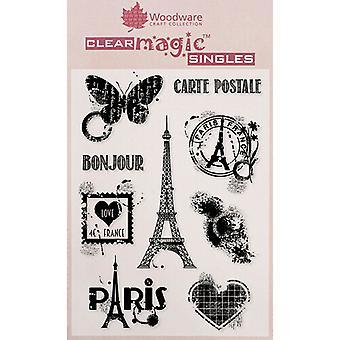 Woodware Clear Singles Paris Elements 4 en x 6 en timbre