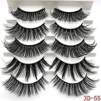 Fluffy Eyelashes 5 Pairs 6d Faux Mink Hair False Eyelash Natural Makeup Tool