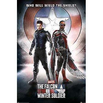 Falken og vinteren. Soldat plakat, der vil svinge skjoldet? (Captain America) 91,5 x 61 cm