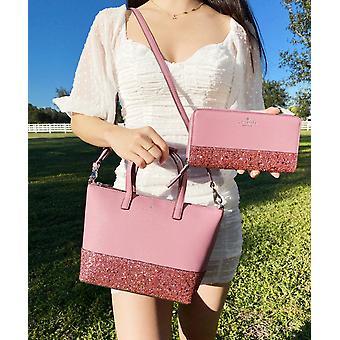 Kate pade greta court ina glitter satchel crossbody + neda carteira peony rosa