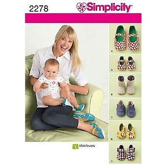 بساطة الخياطة نمط 2278 يفتقد الأطفال الرضع أحذية الحجم S-L A