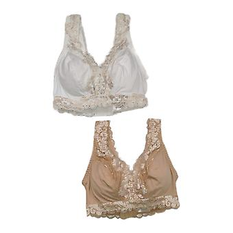 Breezies One Soft Support Wirefree Bra w/ Lace Set of 2 White A373660