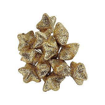 12 Wired Gold Glitter Stars for Christmas Wreaths & Floristry