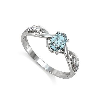 ADEN 925 Sterling Silver Aquamarine Oval Shape Ring (id 4364)