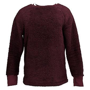 Cuddl Duds Women's Sweater Shaggy Sherpa Pullover Purple A381801